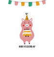 birthday card with funny pig vector image