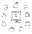 Business set with various purses wallets and safe vector image