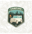 camping patch concept for shirt or logo vector image