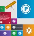 Car parking icon sign Metro style buttons Modern vector image