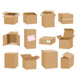 cardboard boxes isolated on white background vector image vector image