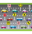 cars and road signs vector image