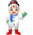 cartoon little boy wearing winter clothes vector image vector image