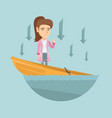 caucasian business woman standing in sinking boat vector image vector image