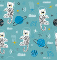 childish seamless pattern with cute leopards vector image