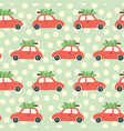 christmas pattern with red car and tree vector image vector image