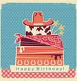 cowboy happy birthday party card background vector image vector image