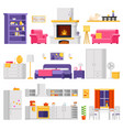 cozy interior set of furniture and room vector image vector image