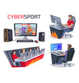 cybersport set icons on vector image