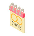 date icon isometric style vector image vector image