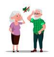 deaf senior man and woman cartoon vector image