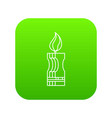 decorative candle icon green vector image vector image