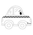 dotted shape kawaii happy taxi car transport vector image vector image