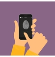 Fingerprint scanning on smartphone vector image vector image