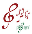 g clef and music notes hand drawn vector image vector image