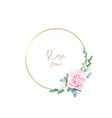 gold frame with pale roses eucalyptus leaves and vector image