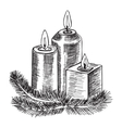 Hand drawn sketch Burning candle christmas vector image vector image