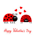 Happy Valentines Day Love card Two cartoon pink vector image vector image