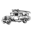 isolated vintage fire truck vector image vector image
