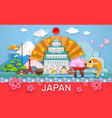 japan travel place and landmark object paper cut vector image
