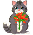 kitten with a bouquet of flowers vector image vector image