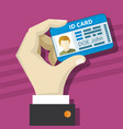 male hand holding id card with photo vector image
