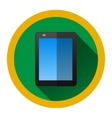 modern flat icon with black tablet and shadow vector image vector image