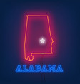 neon map state of alabama on dark background vector image vector image