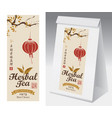 paper packaging with label for herbal tea vector image vector image