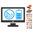 radar battery control monitor icon with dating vector image vector image