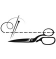 scissors needle and thread symbol for sewing vector image vector image