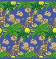 seamless pattern with palm trees summer print vector image vector image
