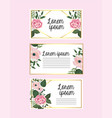 set cards with flowers and roses with branches vector image vector image