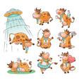 set cute and funny farm cow cartoon animal vector image vector image