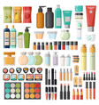 set isolated cosmetic hygiene items skincare vector image