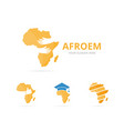 set of africa logo combination safari and embrace vector image vector image