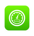 speedometer icon digital green vector image