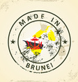 Stamp with map flag of Brunei vector image vector image