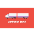 Style container truck on red backgrounds vector image vector image