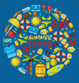 summer vacation items in round frame composition vector image vector image