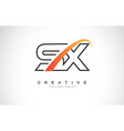 sx s x swoosh letter logo design with modern vector image vector image