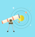 telescope with big zoom and solar system scheme vector image vector image