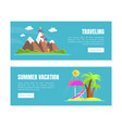 travelling summer vacation landing page templates vector image vector image