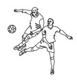two footballers are fighting for the ball vector image