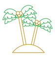 two palms tree coconut beach sand vector image