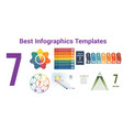 universal set with 6 templates for 7 positions vector image vector image