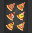 various slices of pizza vector image vector image