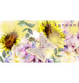 watercolor floral background sunflower and vector image vector image