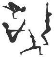 Woman in Yoga Poses Asanas Set Black Isolated on vector image vector image
