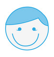 blue round man face cartoon vector image